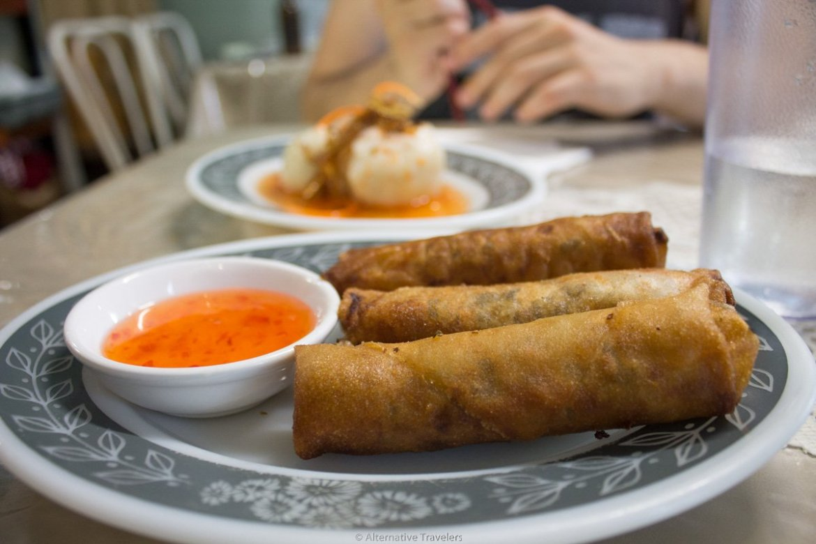 fried vegan egg rolls at Van Hanh Vegetarian Restaurant in Portland