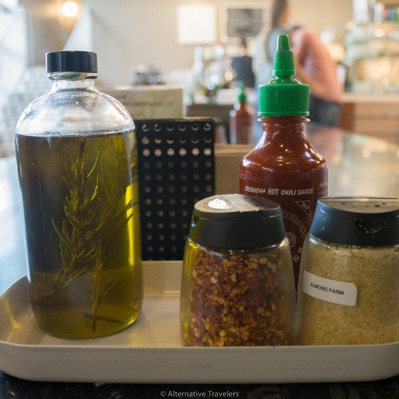 vegan condiments and seasonings like vegan parmesan at Virtuous Pie in Portland.