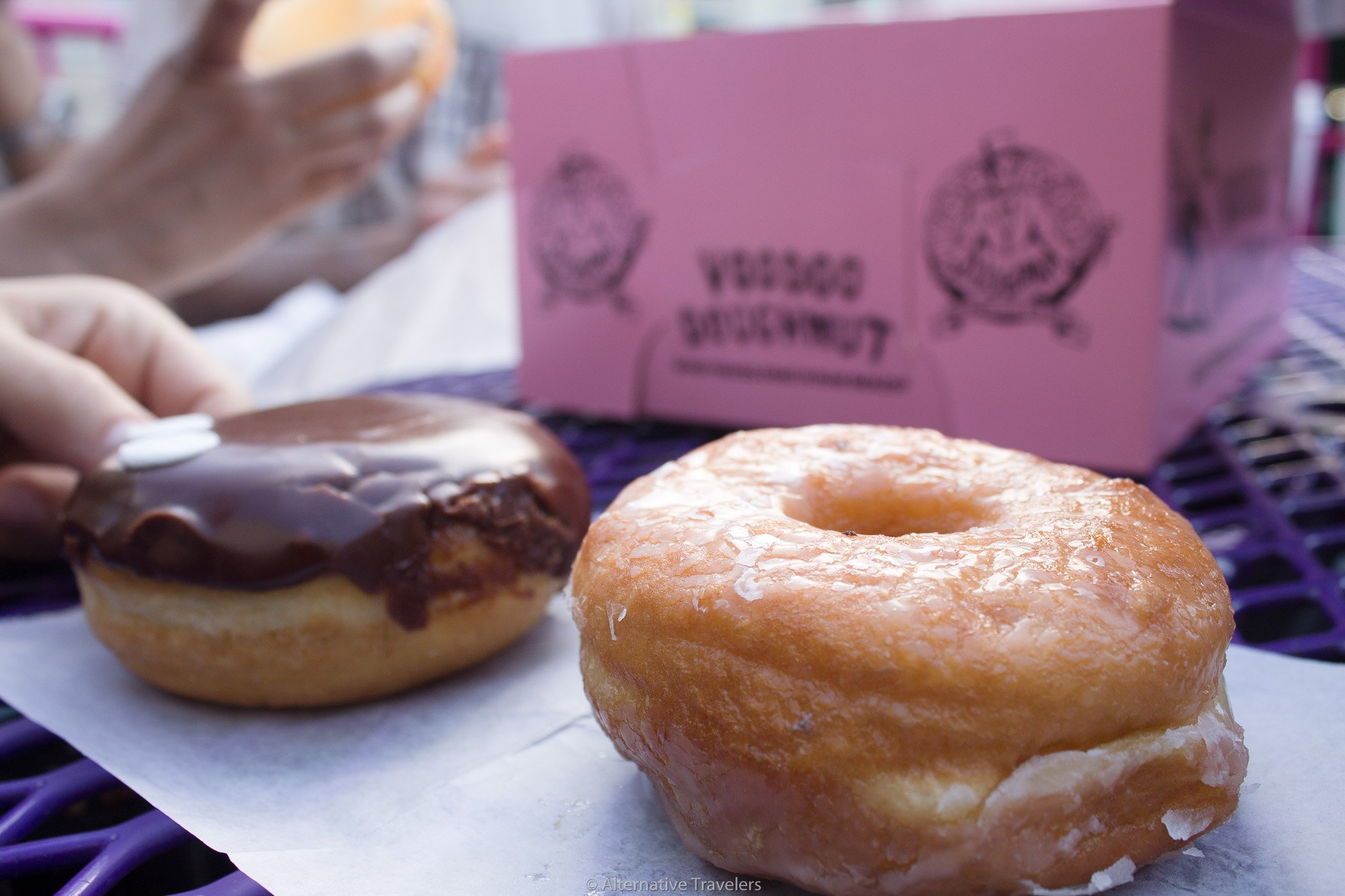 glazed and chocolate iced vegan donuts in Portland at Voodoo Donuts.