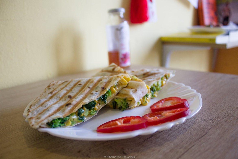 Quesadilla at Edgy Veggy, a vegan restaurant in Sofia, Bulgaria