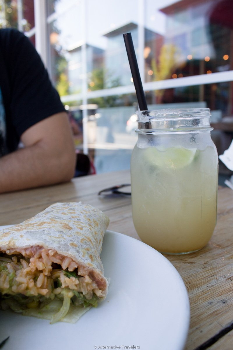 half a vegan burrito and margarita at Cha!Cha!Cha! in Portland