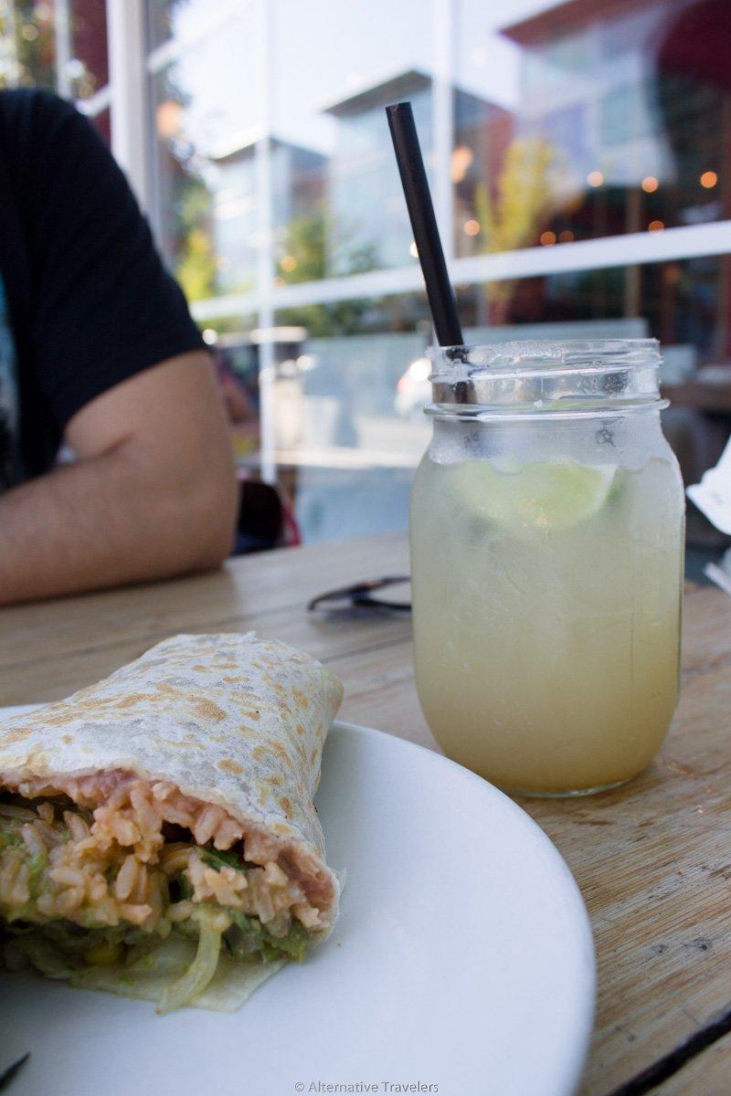 half a vegan burrito and margarita at Cha!Cha!Cha! in Portland