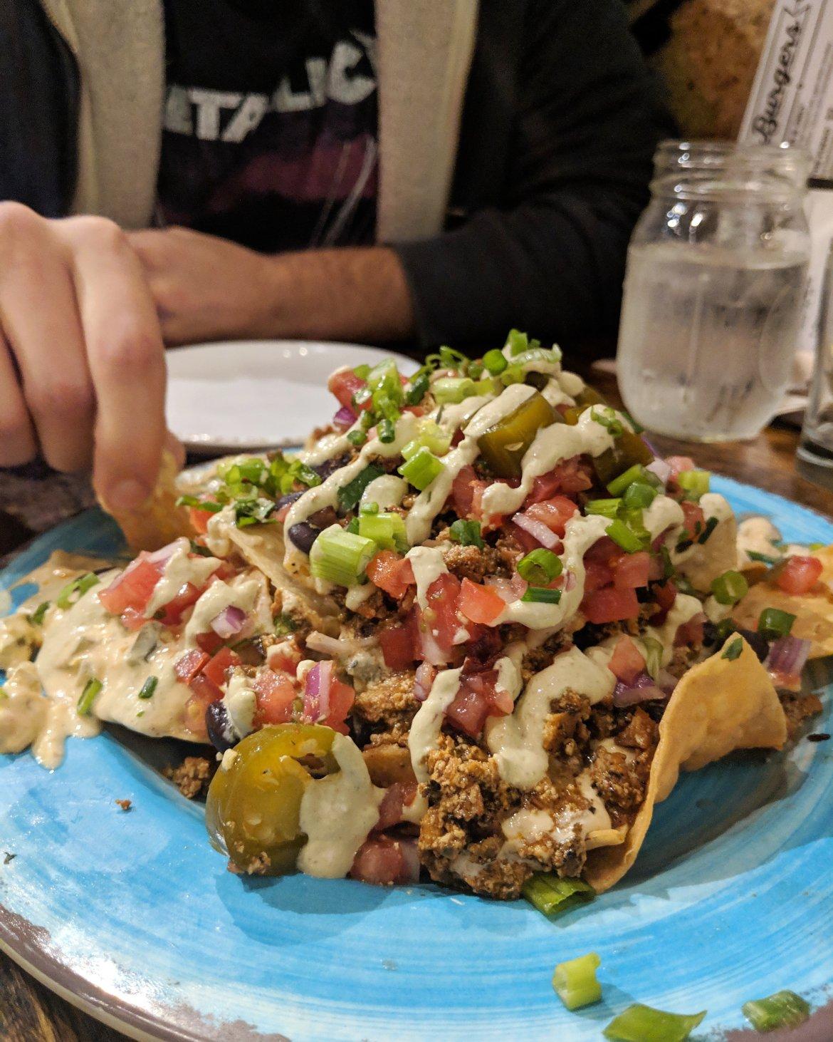 Vegan nachos at Crafted in Greensboro, NC
