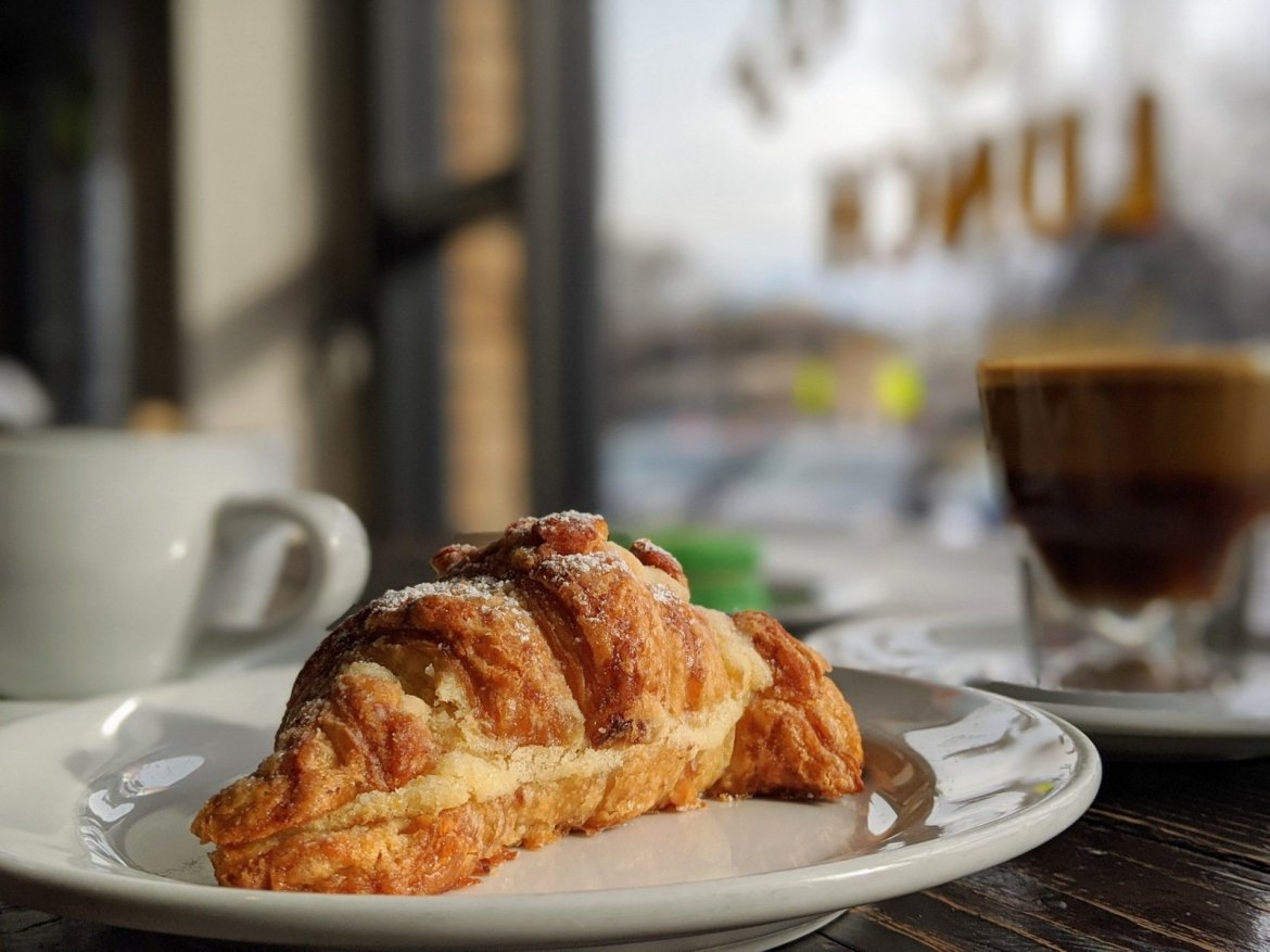 almond filled croissant at vegan bakery in Salt Lake City, Passionflour