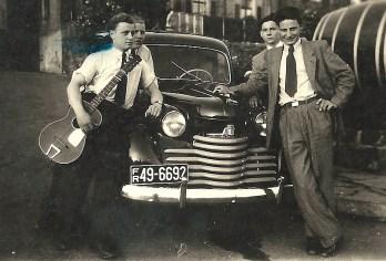 Ausflug mit Opel Olympia - um 1950 v.l.n.r. Hans Reuschenbach, Helmut Lerbs, Herbert Rams und Willi Host