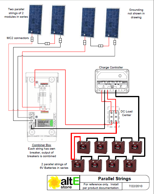 solar panel wiring diagram shower extractor fan light schematic panels in series and parallel alte