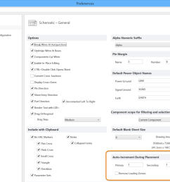 configure the auto increment settings on the schematic general page of the preferences dialog  [ 1200 x 901 Pixel ]