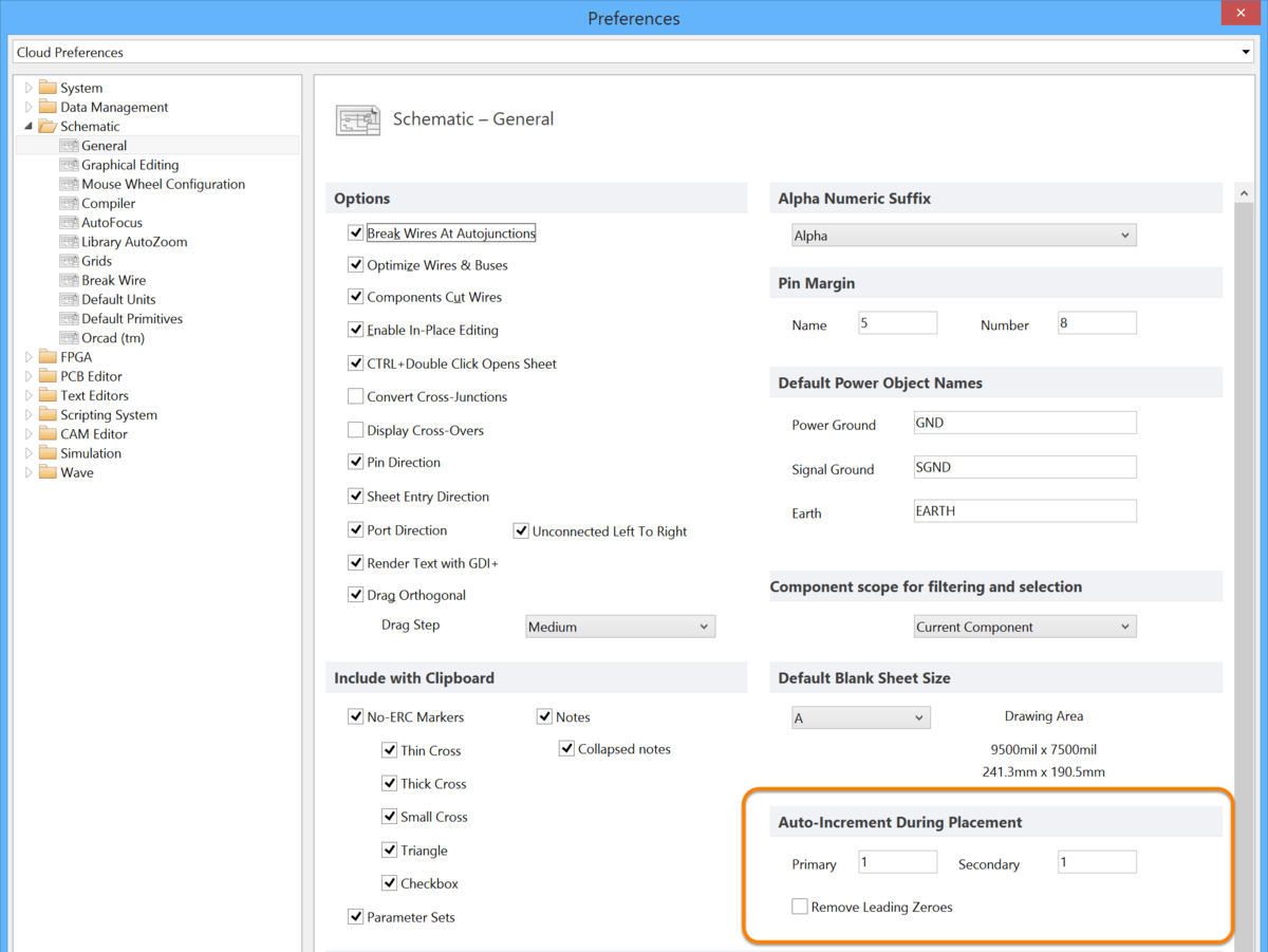 hight resolution of configure the auto increment settings on the schematic general page of the preferences dialog