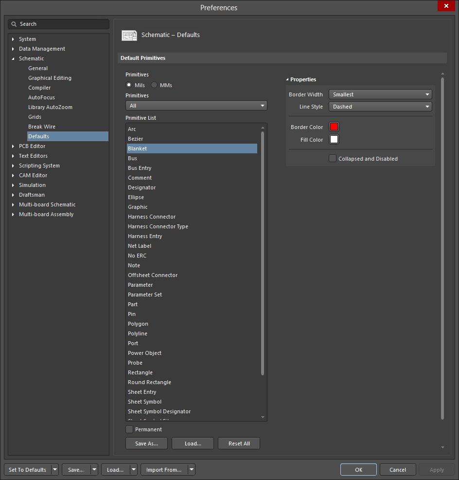 hight resolution of use the schematic defaults page of the preferences dialog to define default settings for all schematic symbols