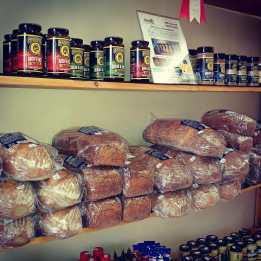 Deli food on shelves