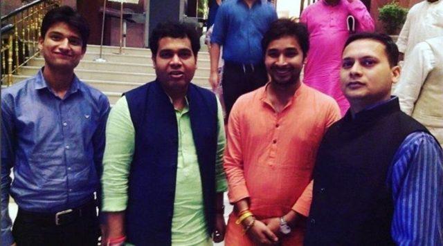 From Left to Right: Ankit Pandey, BJP Spokesperson Shrikant Sharma, Rudra Ravi Sharma, BJP IT Cell Head Amit Malviya