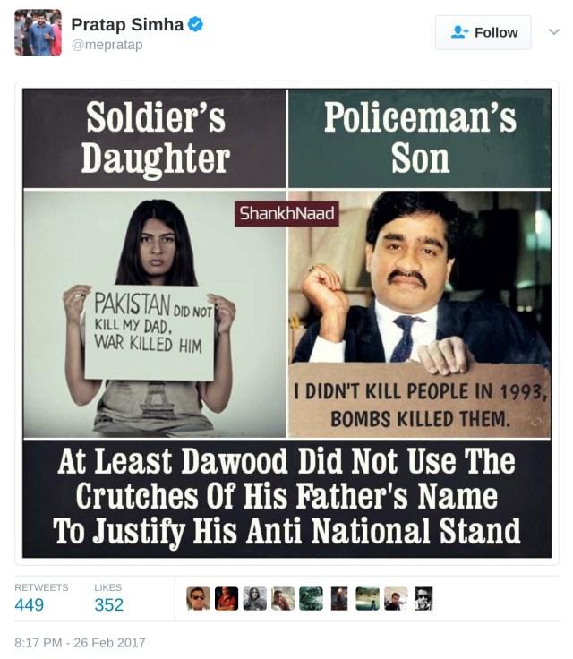 Pratap Simha tweet Gurmehar Kaur