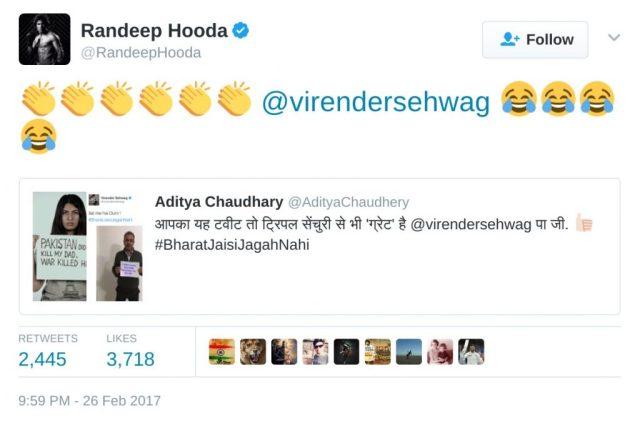 Randeep hooda tweet Gurmehar Kaur
