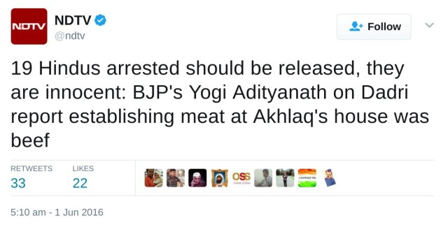 19 Hindus arrested should be released, they are innocent: BJP's Yogi Adityanath on Dadri report establishing meat at Akhlaq's house was beef