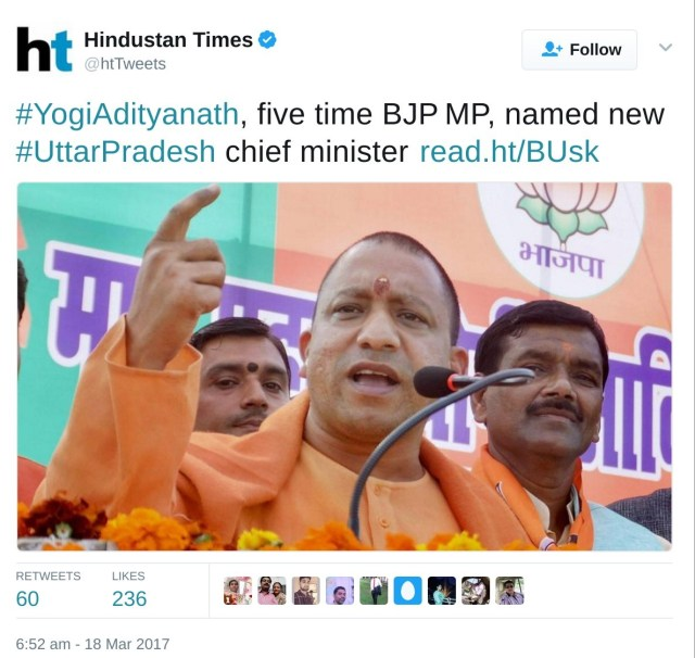 #YogiAdityanath, five time BJP MP, named new<span class=