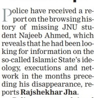 TOI declared Najeeb as ISIS sympathizer on Page 1, 75 word retraction that news was fake on Page 5