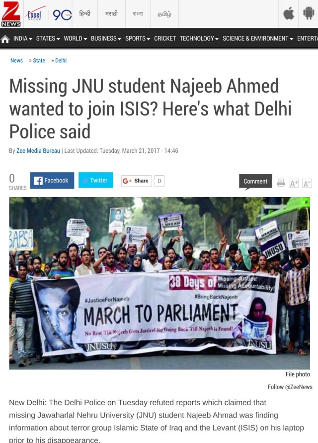 Zee News declared that Najeeb wanted to join ISIS