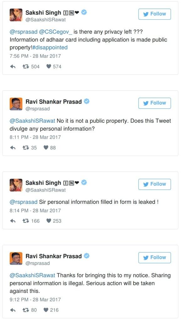 sakshi tweets to ravi shankar prasad