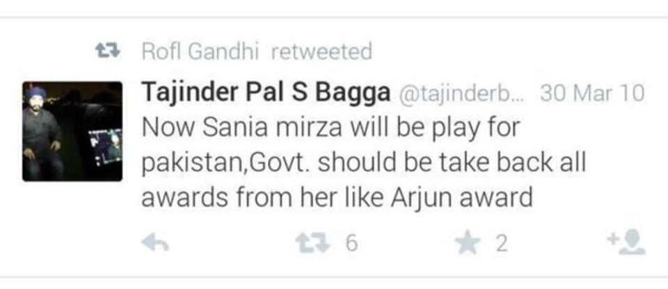 tajinder bagga tweet on sania now sania mirza will be play for pakistan.govt. should be take back all awards from her like Arjun award.
