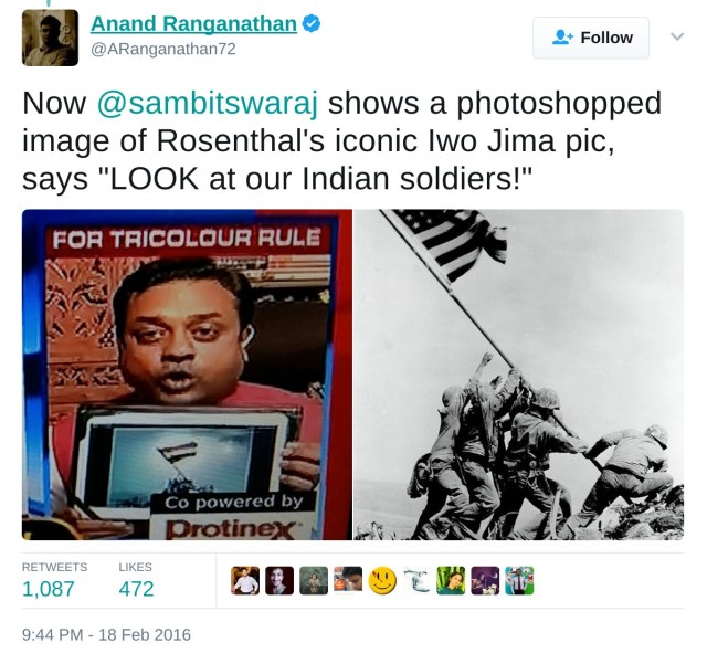 """Sambit patra shows a photoshopped image of Rsenthal's iconic IWO JIMA pic, says """"Look at our Indian soliders!"""""""