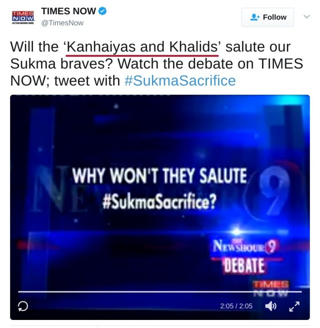 Will the 'Kanhaiyas and Khalids' salute our Sukma braves? Watch the debate on TIMES NOW; tweet with #SukmaSacrifice