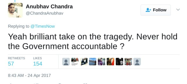 Yeah brilliant take on the tragedy. Never hold the Government accountable ?