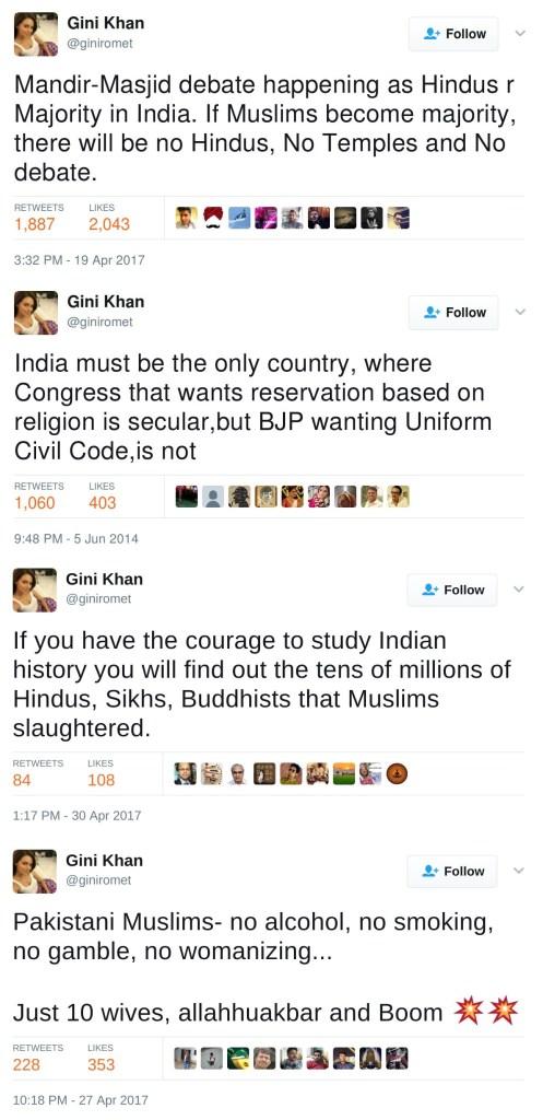 Gini Khan's tweets giniromet