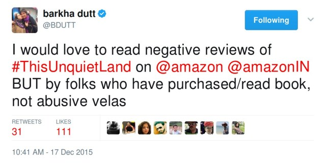 Barkha Dutt's tweets about artificial negative reviews on her book