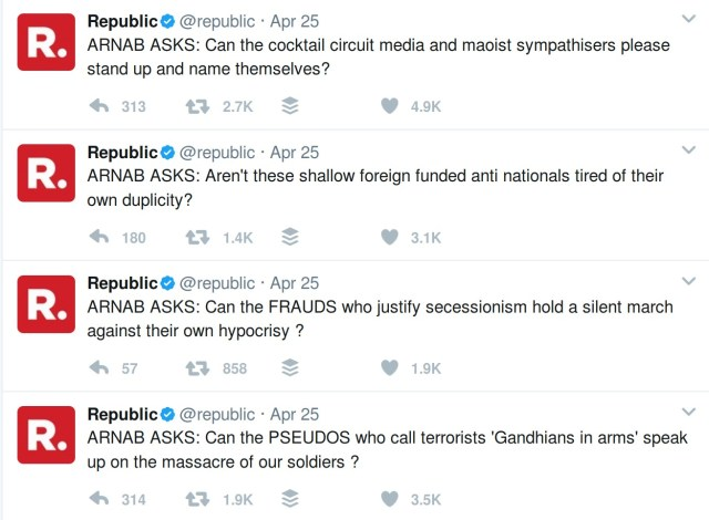 Arnab Goswami's tweets after Sukma attacks