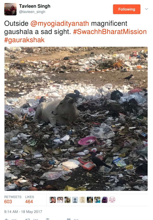 Outside yogi adityanath's magnificent gaushala a sad saight. #SwachhBharatMission
