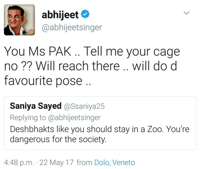 Abhijeet Saniya Sayed: You Ms Pak .. Tell me your cage no?? Will reach there .. will do d favourate pose ..