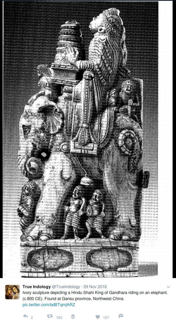 TrueIndology: Ivory sculpture depicting a Hindu Shahi King of Gandhara riding on an elephant. (c.800 CE). Found at Gansu province, Northwest China