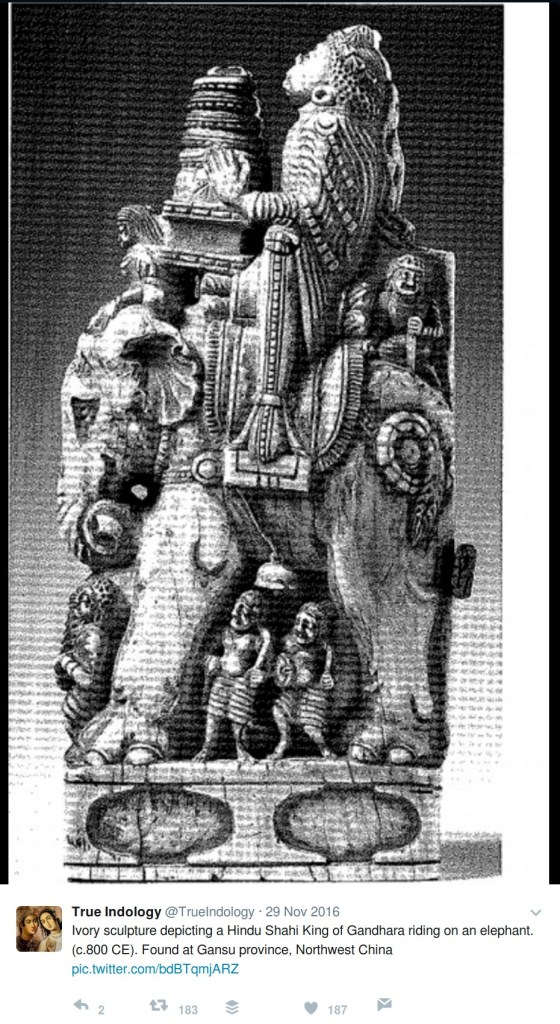 TrueIndology: Ivory sculpture depicting a Hindu Shahi King of Gandhara riding on an elephant. (c.800 CE). Found at Gansu province, Northwest China
