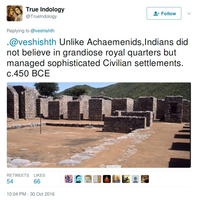 Trueindology: Unlike Achaemenids, Indians did not believe in grandiose royal quarters but managed sophisticated civilian settlements c. 450 BCE