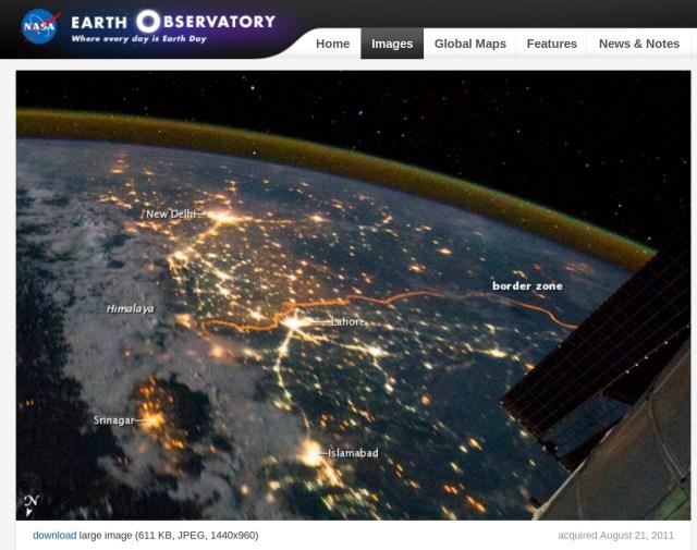 NASA 2011 picture of India Pakistan border