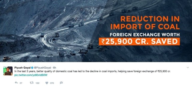 Piyush Goyal's tweet which uses an image from Amnesty International Report on human rights violation by Coal India
