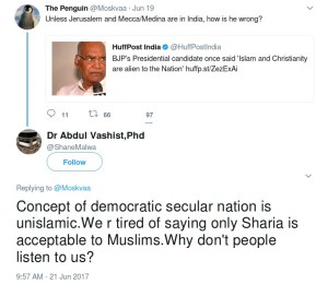 abdul vashist shanemalwa concept of democratic secular nation is unislamic. We are tired of saying only Sharia is acceptable to Muslims. Why don't people listen to us?