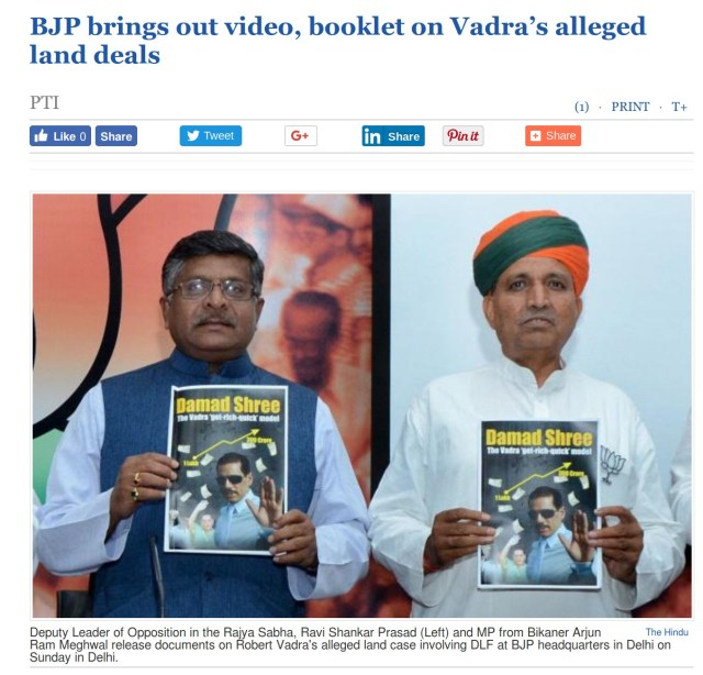 BJP brings out video, booklet on Vadra's alleged land deals