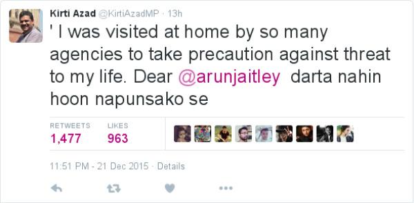 Kirti Azad I was visited at home by so many agencies to take precaution against threat to my life. Dear @arunjaitley darta nahin hoon napusako se.