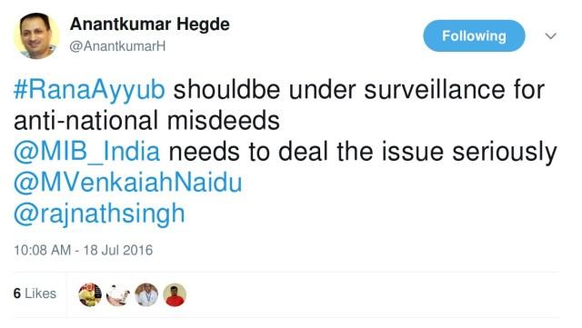Anantkumar hegde ranaayyub should be under surveillance for anti-national misdeeds