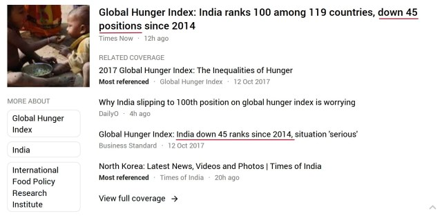 Global Hunger Index 2017 news reports