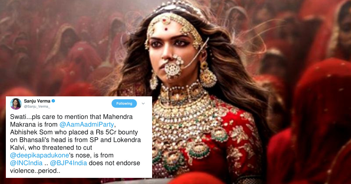 BJP spokesperson passes off those threatening Deepika ...