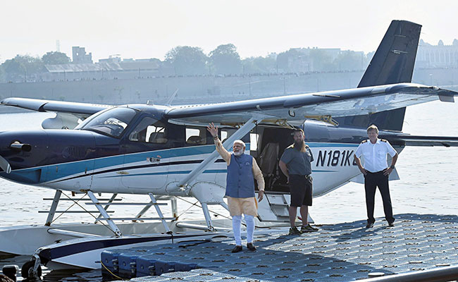 Did PM Modi travel on the first ever seaplane in India? No