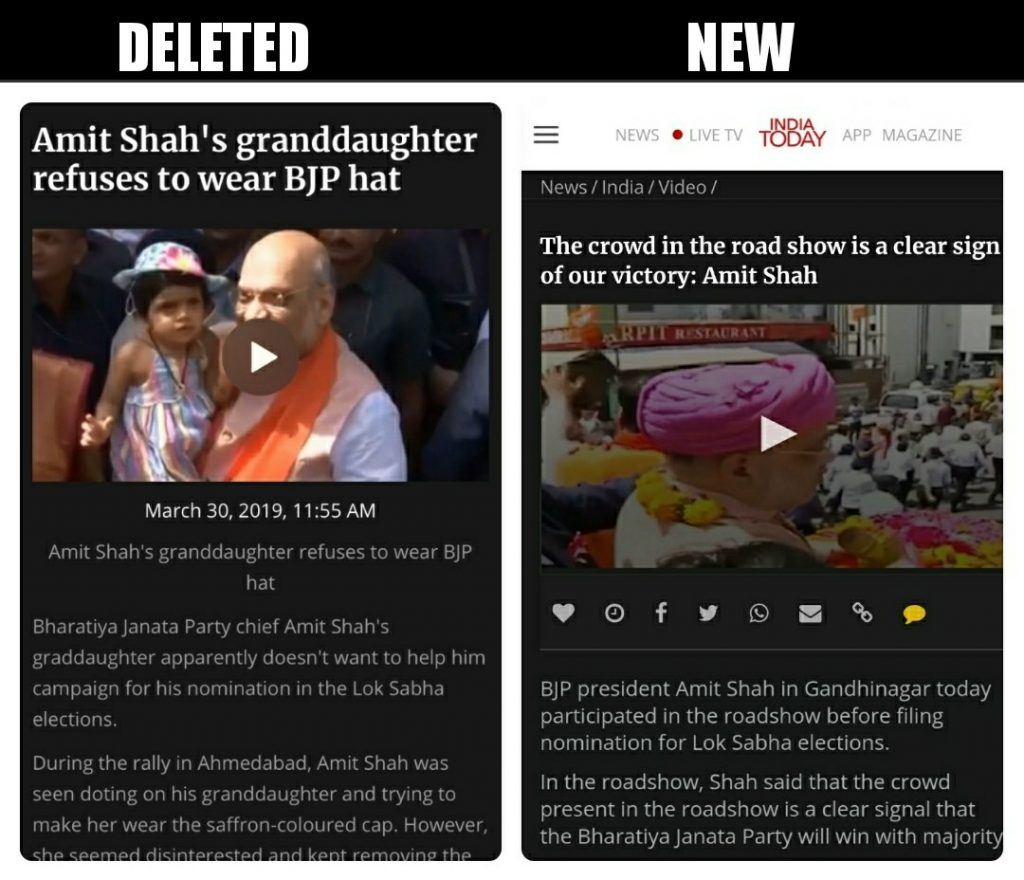 India Today deletes article about 'Amit Shah's granddaughter