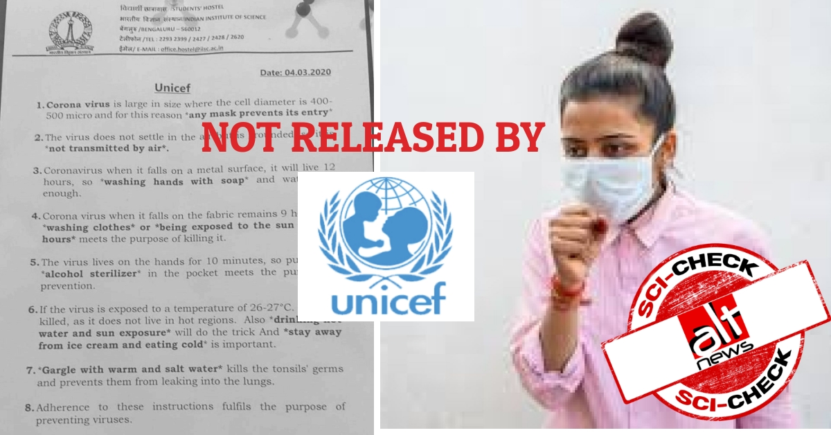 Sci-check: Coronavirus advisory falsely attributed to UNICEF viral ...
