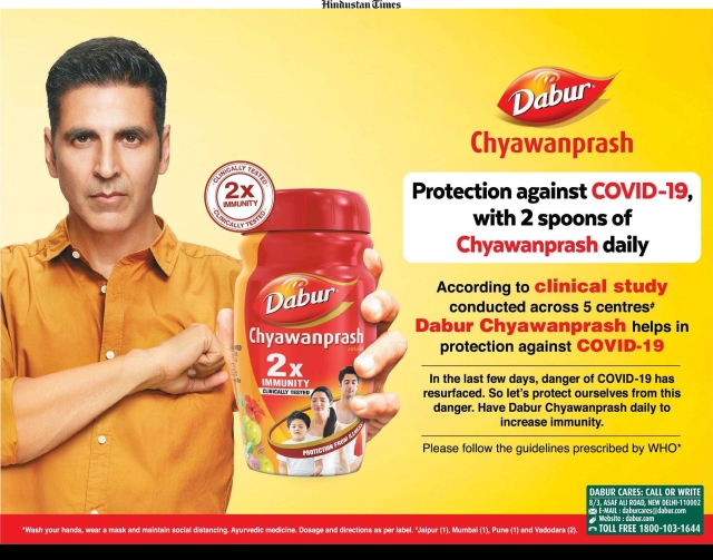 "Dabur ad says, ""Protection against COVID-19 with 2 spoons of Chyawanprash daily"""