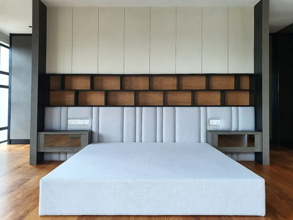 Modern Detached House Furniture Fittings | Master Bedroom Cushion Bed Frame with Divider Bed Head Panel