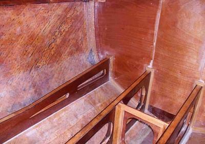 Cabina principale struttura in legno terminata e trattata con epossidica luglio 2004
