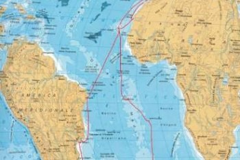 Cartina con la rotta del II viaggio in Antartide tracciata da Tito Mancini