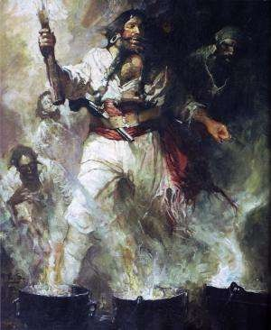 blackbeard in smoke and flames